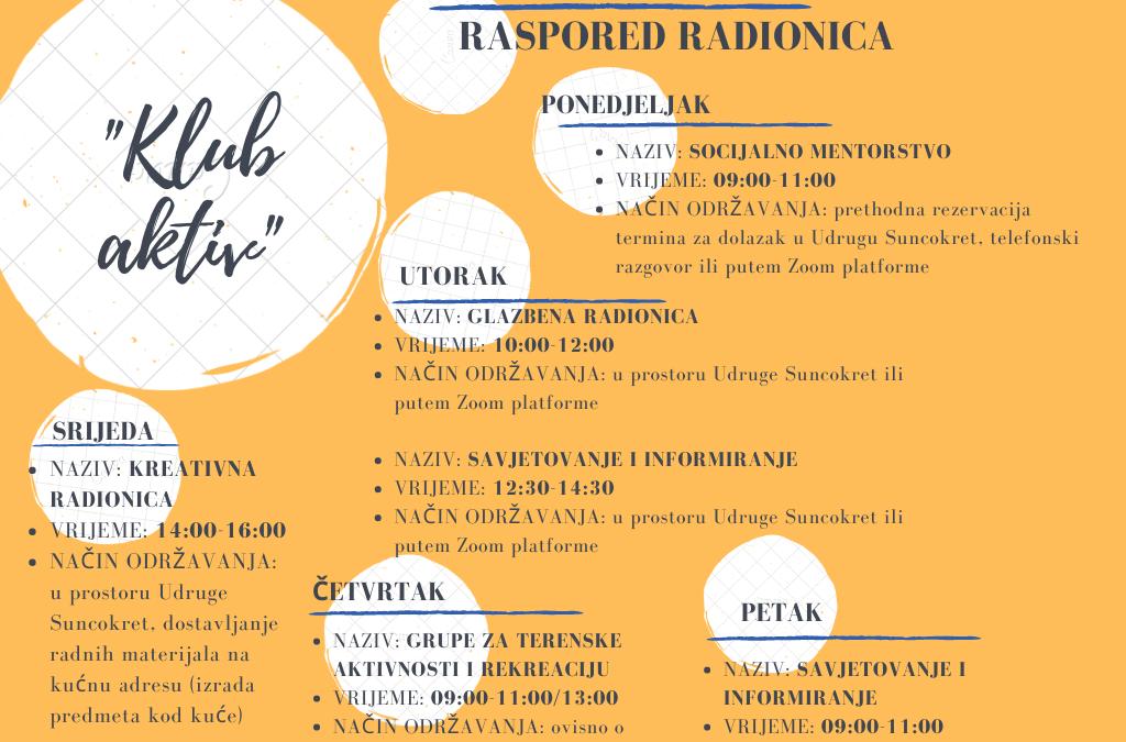 "Raspored radionica ""Kluba Aktiv"""
