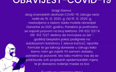 OBAVIJEST COVID-19